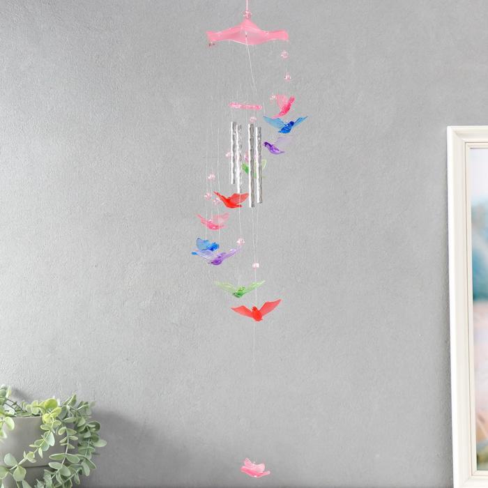 Музыка ветра пластик Птицы 4 трубочки 11 фигурок 67 см МИКС