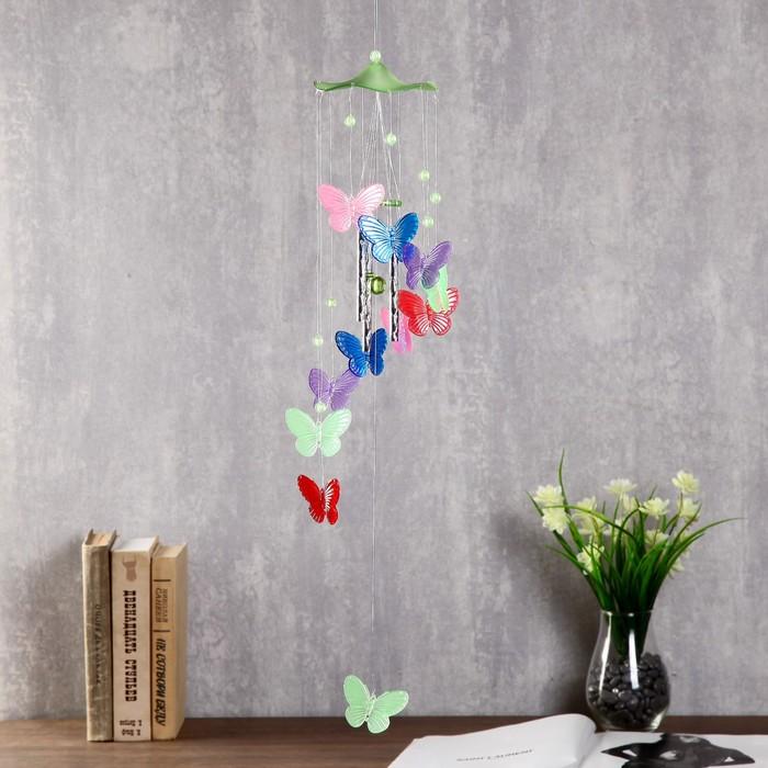 Музыка ветра пластик Бабочки светятся в темноте 4 трубочки 11 фигурок 67 см МИКС