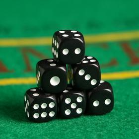 Кости игральные 1.2х1.2 см, черные, белые точки, фасовка 100 шт Ош