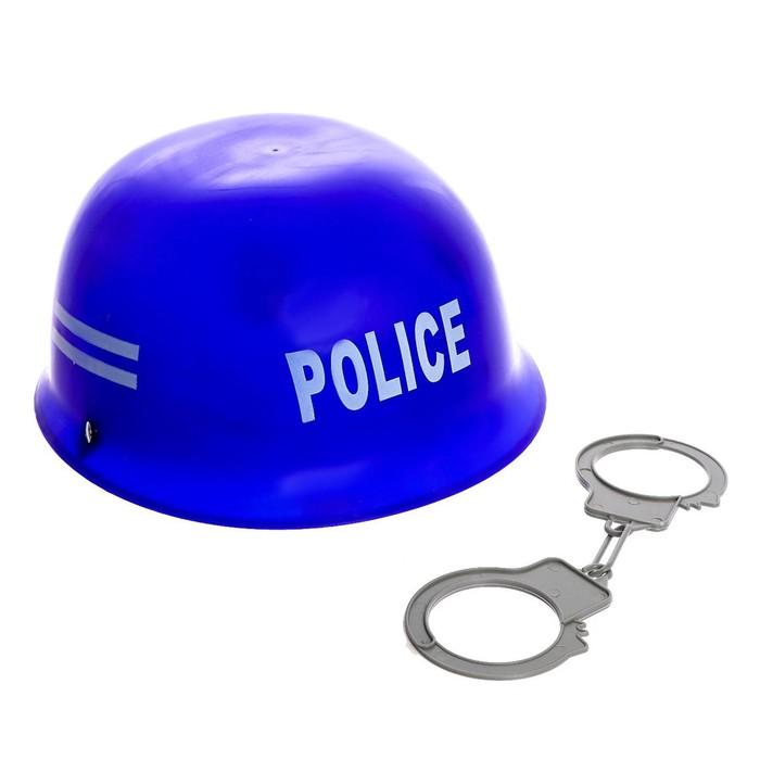 Набор полицейского Каска и наручники, 2 предмета