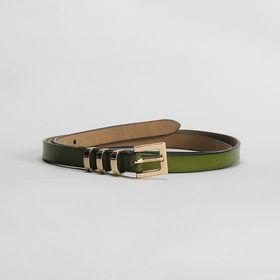 Ремень женский, гладкий, пряжка и хомут золото, ширина - 1,5 см, цвет зелёный Ош