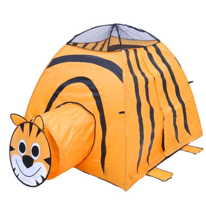 Игровая палатка «Тигр» с туннелем, цвет оранжевый