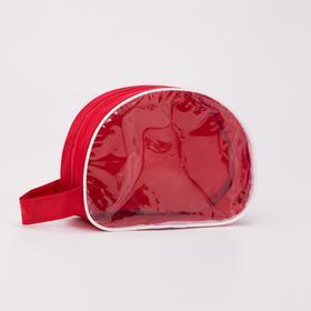 Косметичка ПВХ, отдел на молнии, с ручкой, цвет красный Ош