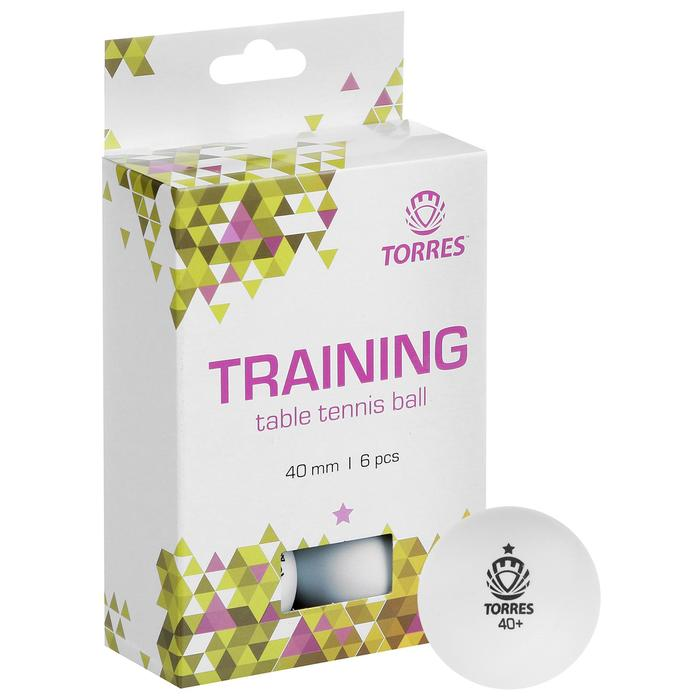 Мяч для настольного тенниса Torres Training, 1 звезда, набор 6 шт., цвет белый