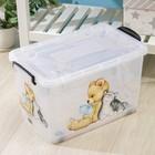 Контейнер для хранения Росспласт «Мишка и котёнок», 35 л, 50,5?31,5?28 см, цвет прозрачный