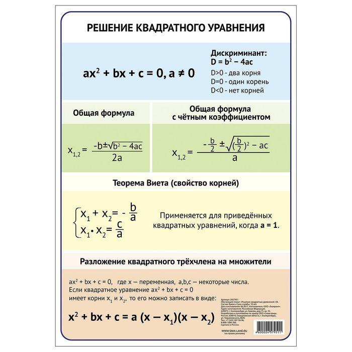 """Обучающий плакат """"Решение квадратного уравнения"""", А3"""
