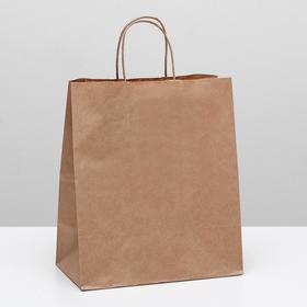 Пакет крафт без печати, круглая ручка 24 х 14 х 28 см Ош