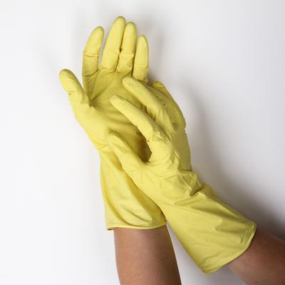 Перчатки резиновые, с внутренним х/б напылением, размер L, 30 гр, цвет жёлтый - Фото 1