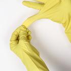 Перчатки резиновые, с внутренним х/б напылением, размер L, 30 гр, цвет жёлтый - Фото 2