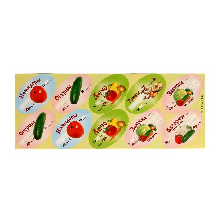 Набор цветных этикеток для домашних заготовок из овощей и грибов 6 х 3,5 см, 30 шт