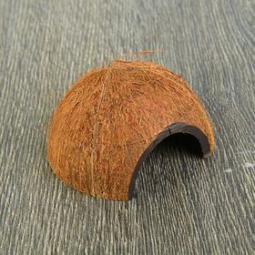 Скорлупа кокосовая 1/2, для рептилий и грызунов, L, микс