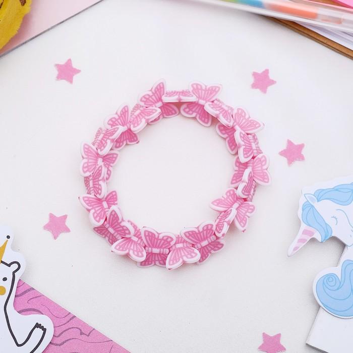 Браслет детский Выбражулька бабочки кружатся, цвет розовый ,d6см
