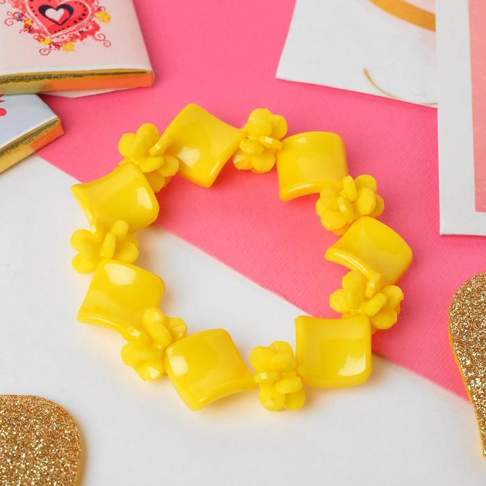 Браслет детский Выбражулька ромб гибкий, цвет жёлтый ,d6см