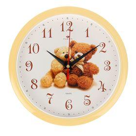 Часы настенные, серия: Детские, 'Мишки', 22х22 см Ош