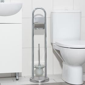 Ёрш для унитаза с подставкой напольный, 22×22×82 см, с держателем для туалетной бумаги, цвет хром Ош
