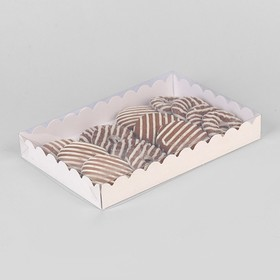 Коробочка для печенья с PVC крышкой, белая, 22 х 15 х 3 см
