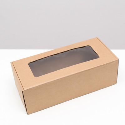 Коробка самосборная, с окном, крафт, бурая 16 х 35 х 12 см - Фото 1