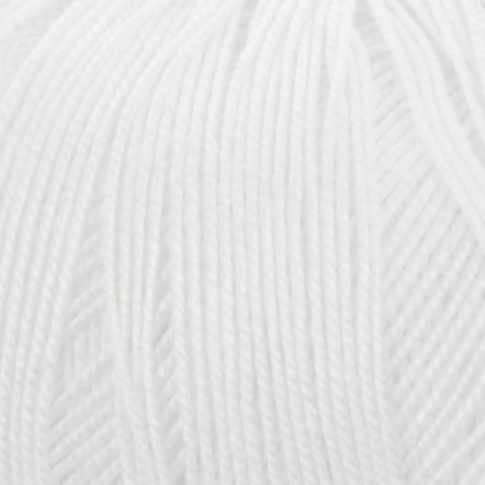 """Пряжа """"Белое кружево"""" 100% мерсеризованный хлопок 475м/50гр (01-Белый)"""