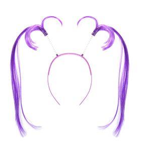 Карнавальный ободок 'Хвостики' длинные, цвет фиолетовый Ош