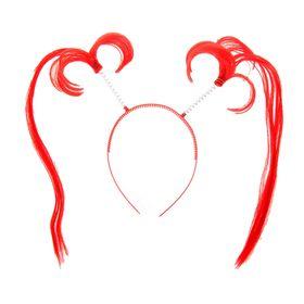 Карнавальный ободок 'Хвостики' длинные, цвет красный Ош