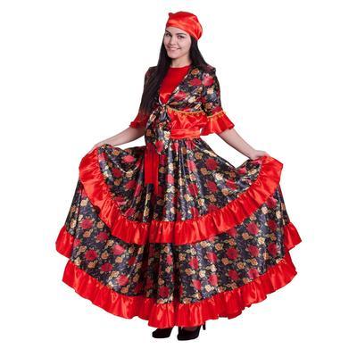 """Карнавальный костюм """"Цыганка"""", блузка, юбка, платок, пояс, парик, цвет красный, р-р 52"""