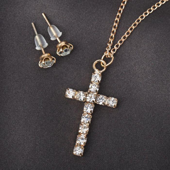 Гарнитур 2 предмета серьги, кулон Крестик, цвет белый в золоте, 43см
