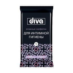 Влажные салфетки Diva intimate Black, для интимной гигиены, 15 шт.