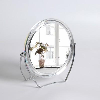 Зеркало настольное, на подставке, двустороннее, с увеличением, d зеркальной поверхности 12,5 см, цвет прозрачный - Фото 1
