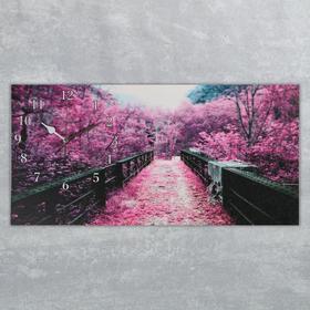 Часы на холсте 'Сиреневая листва на мосту', микс 40х76 см Ош