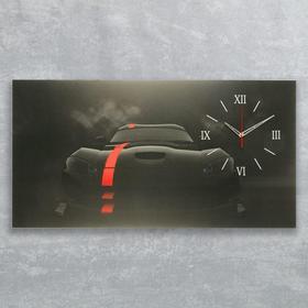 Часы на холсте 'Чёрный спорткар', 50х100  см, микс Ош