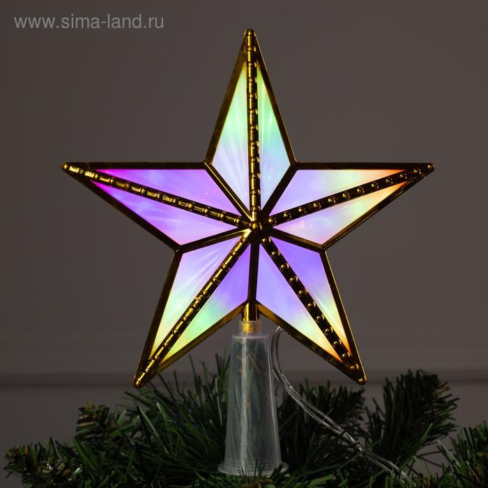 "Фигура ""Звезда золот. ёлочная"" 15Х15 см, пластик, 10 LED,2 метра провод,240V МУЛЬТИ"