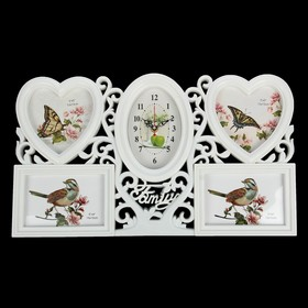 Часы настенные, серия: Фото, 'Family', сердечки белые, 4 фоторамки, 50х30 см, микс Ош