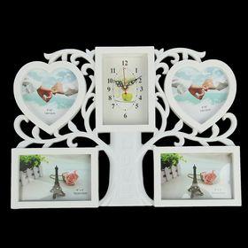 Часы настенные, серия: Фото, 'Древо жизни', 4 фоторамки, 44х31 см, микс Ош