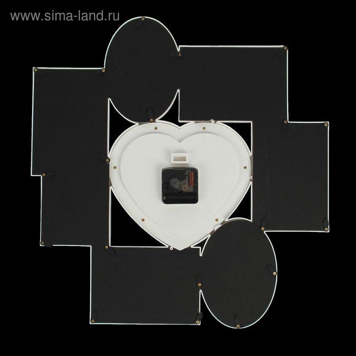"""Часы настенные, серия: Фото, """"Сердце"""", 7 фоторамок, белые, 47х50 см"""