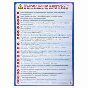 Обучающий плакат 'Правила безопасности на уроке физики' А2 Ош