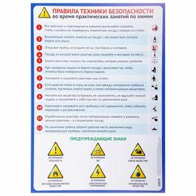 Обучающий плакат 'Правила безопасности на уроке химии' А2 Ош