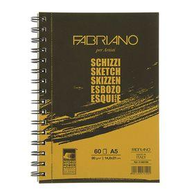 Блокнот для рисунков А5, 60 листов на гребне Fabriano Schizz, 90 г/м², чёрно-оранжевый, цвет листа — слоновая кость
