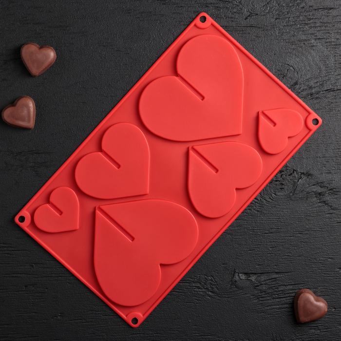 Форма для шоколада 3D Доляна «Сердце», 17×29 см, 6 ячеек (8,5×6,2 см), цвет МИКС