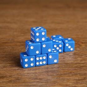 Кости игральные 1.6х1.6 см, синие, набор 100шт
