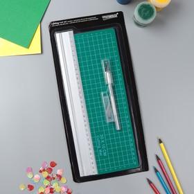 Набор инструментов для творчества: нож 4+1 лезвий, линейка, мат 30х10 см, 34,7х16,3 см Ош