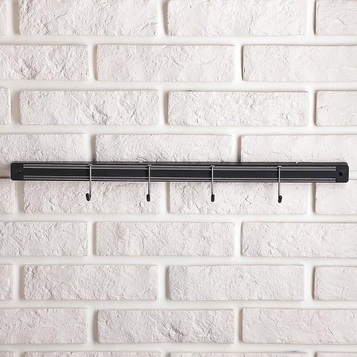 Держатель для ножей магнитный с крючками, 51 см