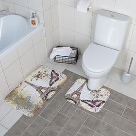 Набор ковриков для ванны и туалета Доляна «Французский стиль», 2 шт: 39×45, 45×73 см