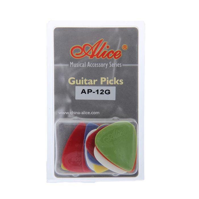 Медиаторы Alice AP-12G, рифленые, нейлон, толщина 0.58-0.81, 12шт