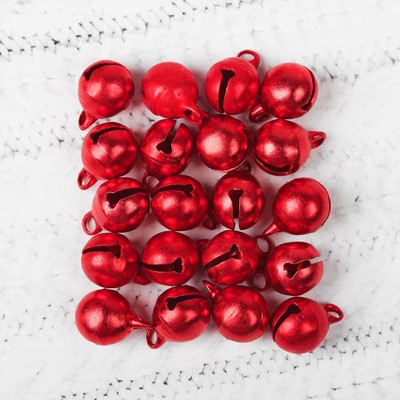 Бубенчики, набор 20 шт., размер 1 шт: 1 см, цвет красный