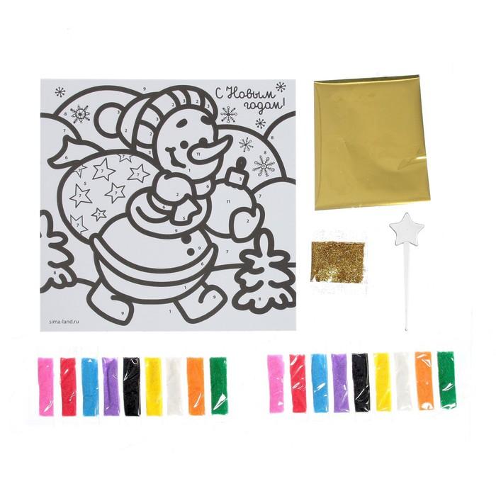 """Новогодняя фреска блёстками и фольгой """"С Новым годом!"""", снеговик, набор: песок 9 цветов, блёстки 2гр, стека"""