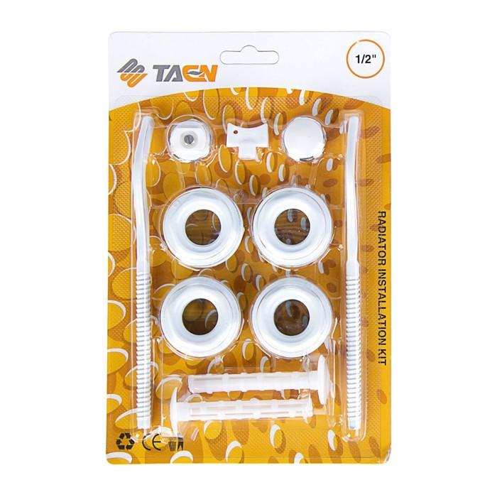 """Комплект для подключения радиатора TAEN, 1""""x1/2"""", с двумя кронштейнами, в блистере"""