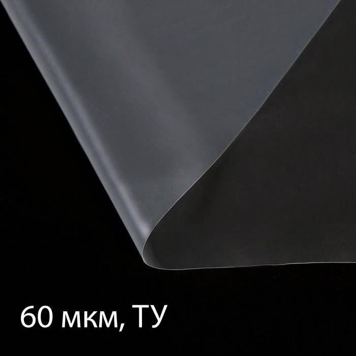 Плёнка полиэтиленовая, толщина 60 мкм, 3 ? 5 м, рукав (1,5 м ? 2), прозрачная, 1 сорт, Эконом 50 %