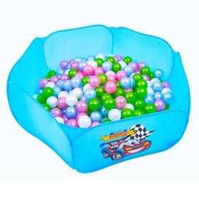 Шарики для сухого бассейна «Перламутровые», диаметр шара 7,5 см, набор 100 штук, цвет розовый, голубой, белый, зелёный Ош