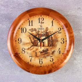 Часы настенные, серия: Интерьер, 'Усадьба', деревянный обод, микс 30х30 см Ош