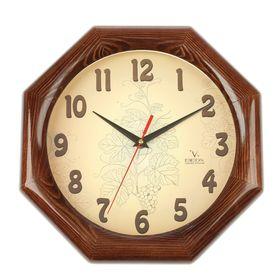 Часы настенные, серия: Классика, восьмигранные 'Узор', деревянный обод, 30х30 см Ош